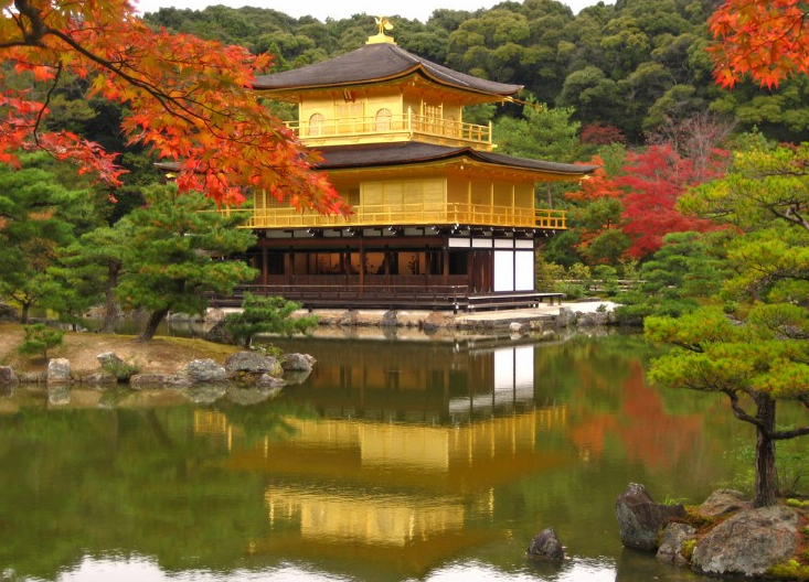 Kinkaku-ji Temple was burned down several times over the years. It was finally restored in 1955 and in 1987 its gold leaf coating was added, returning the structure back to its former glory.
