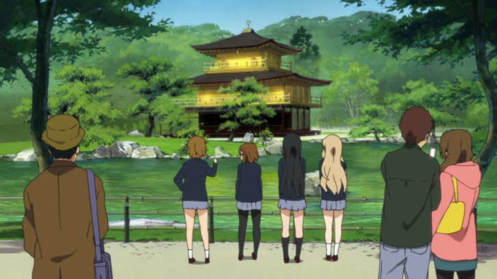 UNESCO World Heritage site Kinkaku-ji Temple featured in a scene in the popular anime series, K-On!, adapted from a manga of the same name.