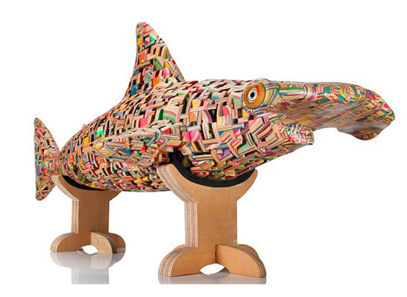 Skateboard sculptures by Haroshi