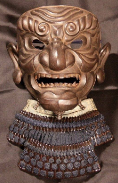 Japanese samurai armour mask So-men. Matsuda Myochin (1784).