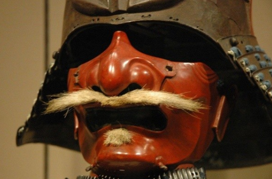 Face mask of the lone Samurai helmet in the collection of the Asian Art Museum of San Francisco.