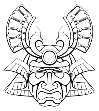 Samurai mask helmet design illustration.