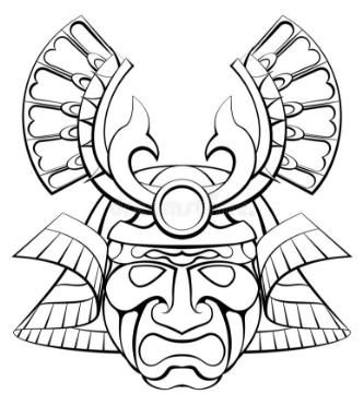 Samurai mask helmet design illustration.